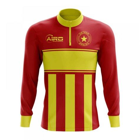 Vietnam Concept Football Half Zip Midlayer Top (Red-Yellow)