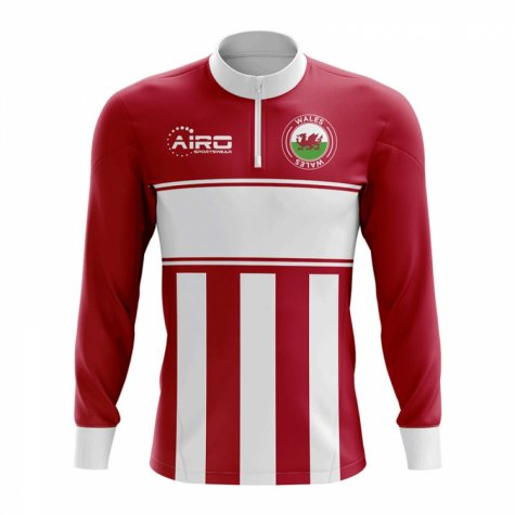 Wales Concept Football Half Zip Midlayer Top (Red-White)