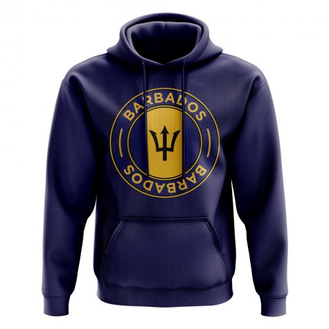 Barbados Football Badge Hoodie (Navy)