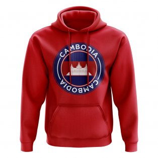Cambodia Football Badge Hoodie (Red)
