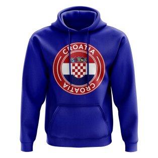 Croatia Football Badge Hoodie (Royal)