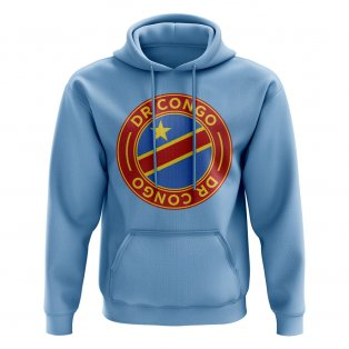 DR Congo Football Badge Hoodie (Sky)
