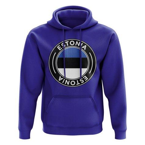 Estonia Football Badge Hoodie (Royal)