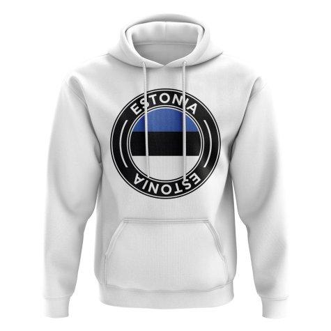 Estonia Football Badge Hoodie (White)