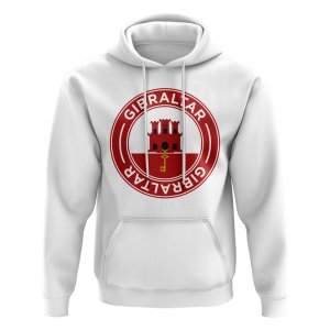 Gibraltar Football Badge Hoodie (White)