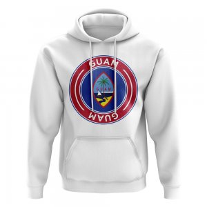 Guam Football Badge Hoodie (White)