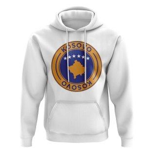 Kosovo Football Badge Hoodie (White)