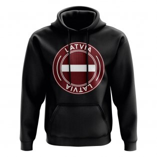 Latvia Football Badge Hoodie (Black)