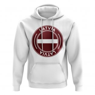 Latvia Football Badge Hoodie (White)