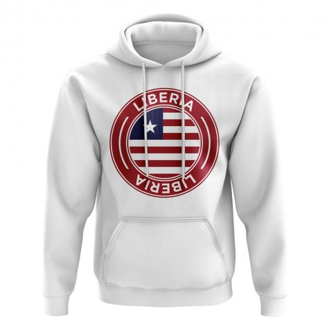 Liberia Football Badge Hoodie (White)