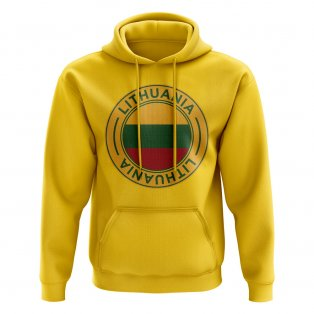 Lithuania Football Badge Hoodie (Yellow)