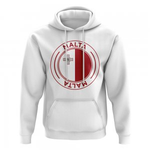 Malta Football Badge Hoodie (White)