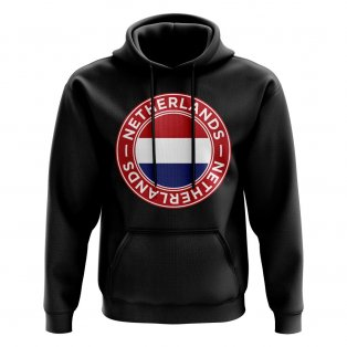 Netherlands Football Badge Hoodie (Black)