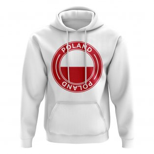 Poland Football Badge Hoodie (White)