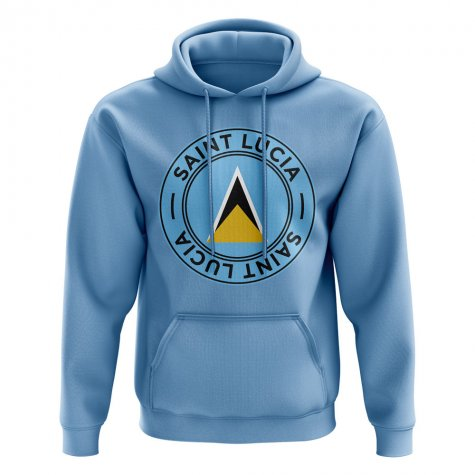 Saint Lucia Football Badge Hoodie (Sky)