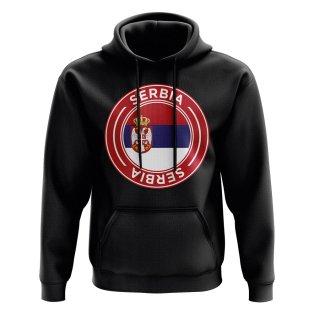 Serbia Football Badge Hoodie (Black)