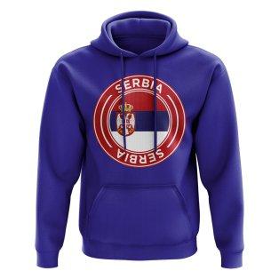 Serbia Football Badge Hoodie (Royal)