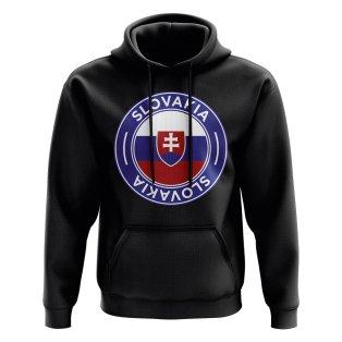 Slovakia Football Badge Hoodie (Black)
