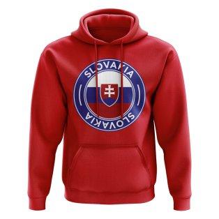 Slovakia Football Badge Hoodie (Red)