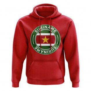 Suriname Football Badge Hoodie (Red)