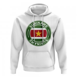 Suriname Football Badge Hoodie (White)