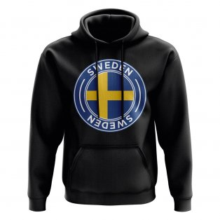 Sweden Football Badge Hoodie (Black)