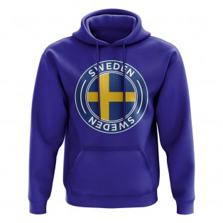 Sweden Football Badge Hoodie (Royal)