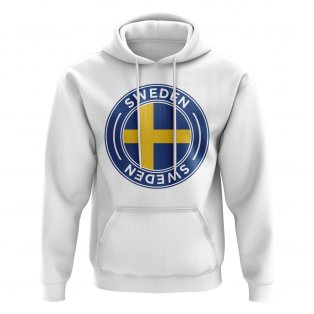 Sweden Football Badge Hoodie (White)
