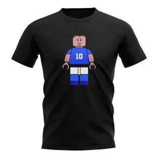 Roberto Baggio Italy Brick Footballer T-Shirt (Black)
