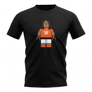 Ruud Gullit Holland Brick Footballer T-Shirt (Black)