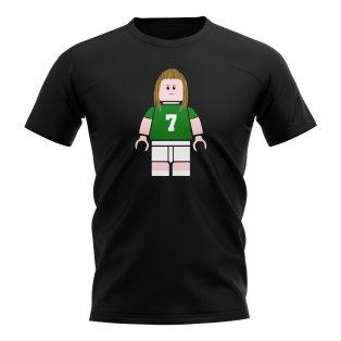 Henrik Larsson Celtic Brick Footballer T-Shirt (Black)