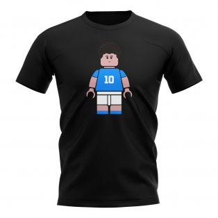 Diego Maradona Napoli Brick Footballer T-Shirt (Black)