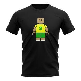 Ronaldo Brazil Brick Footballer T-Shirt (Black)