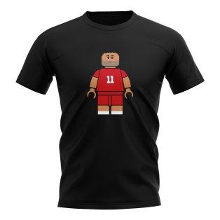 Mo Salah Liverpool Brick Footballer T-Shirt (Black)