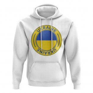 Ukraine Football Badge Hoodie (White)