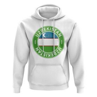Uzbekistan Football Badge Hoodie (White)