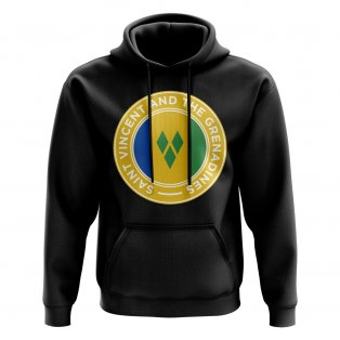Saint Vincent and The Grenadines Football Badge Hoodie (Black)