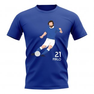 Andrea Pirlo Italy Player Graphic T-Shirt (Blue)