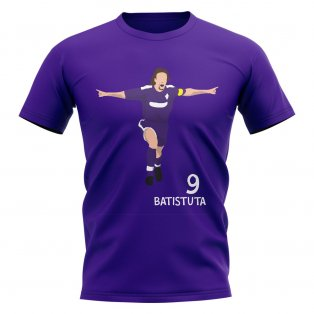Gabriel Batistuta Fiorentina Player Graphic T-Shirt (Purple)