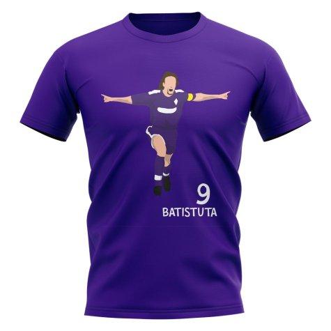 Gabriel Batistuta Fiorentina Player Graphic T-Shirt (Purple)