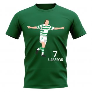 Henrik Larsson Celtic Player Graphic T-Shirt (Green)