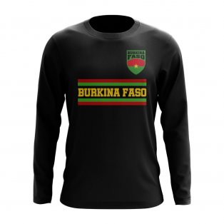 Burkina Faso Core Football Country Long Sleeve T-Shirt (Black)