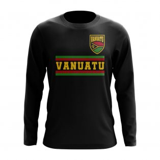 Vanuatu Core Football Country Long Sleeve T-Shirt (Black)