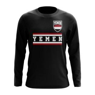 Yemen Core Football Country Long Sleeve T-Shirt (Black)