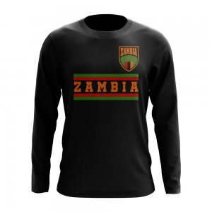 Zambia Core Football Country Long Sleeve T-Shirt (Black)