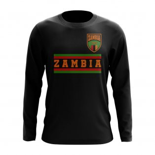 Zambia Core Football Country Long Sleeve T-Shirt (Black)