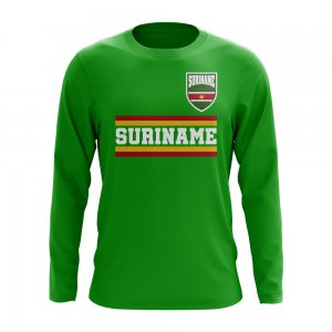 Suriname Core Football Country Long Sleeve T-Shirt (Green)