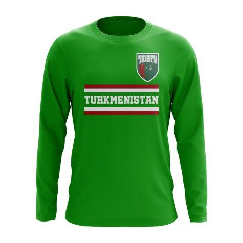 Turkmenistan Core Football Country Long Sleeve T-Shirt (Green)