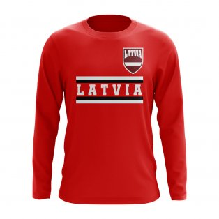 Latvia Core Football Country Long Sleeve T-Shirt (Red)