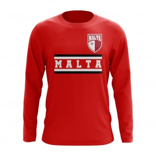 Malta Core Football Country Long Sleeve T-Shirt (Red)